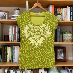 ATHLETA | Lime Green Floral Animal Print Tee LG